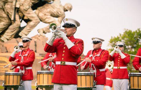 Marine Corps Sunset Parade at the Iwo Jima Memorial