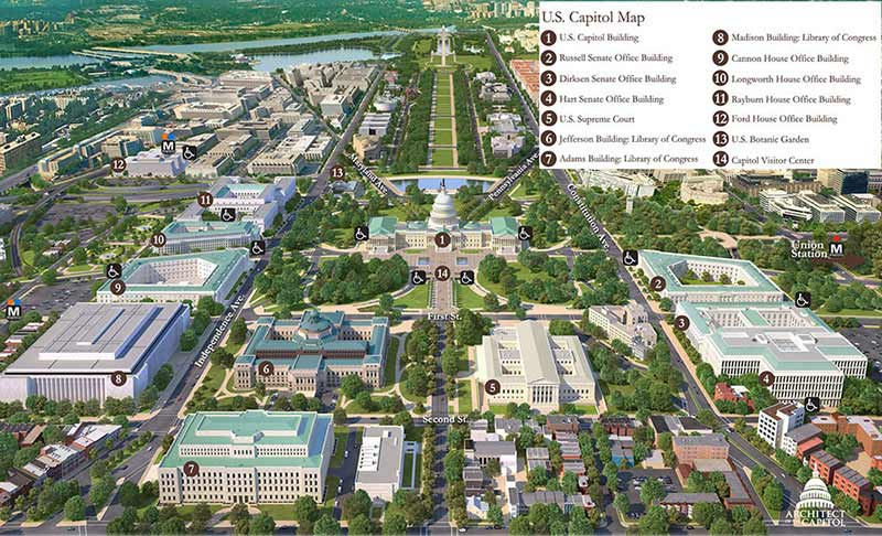 Map of Capitol Washington DC