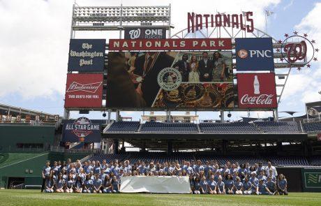 Washington Nationals Park group shot on baseball diamond. Event Photography Congressional Awards