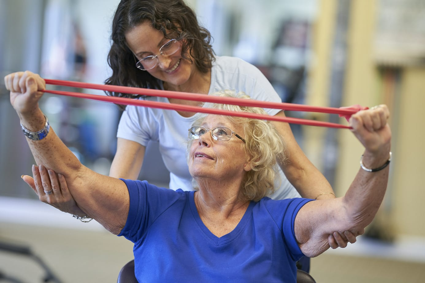 Senior Living Retirement community photography, resident doing physical therapy exercise